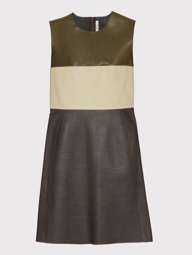 Vestido-Couro-Bicolor