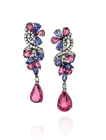 Brinco-Tanzanita-Turmalinas-Rosa-e-Diamantes-de-Rodio-Negro