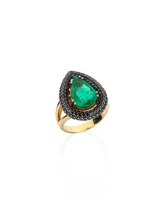 Anel-Esmeralda-e-Diamantes-Negros-de-Ouro