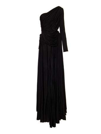 VESTIDO-LONG-DRESS-ASYMETRIC-DRAPED-BLACK