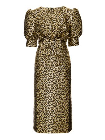 VESTIDO-LEOPARD-LUREX-JACQUARD-DRESS-WIT-GOLD