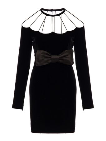 VESTIDO-VELVET-MINI-DRESS-WITH-BOW-BELT-BLACK
