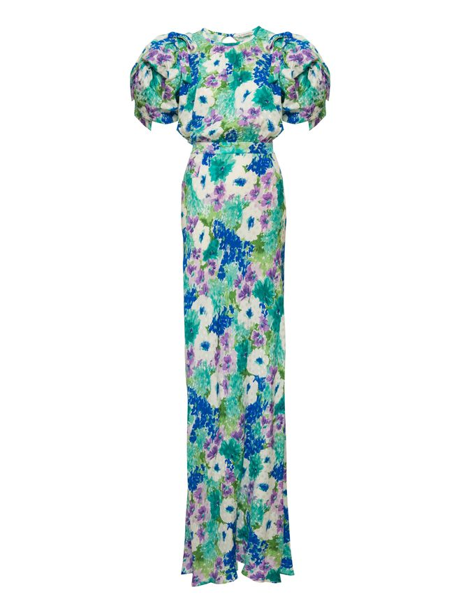 VESTIDO-LONG-SILK-FLORAL-PRINT-DRESS-WIT-TURQUOISE