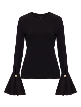 BLUSA-TOP-WITH-JACQUARD-RUFFLE-CUF-BLACK