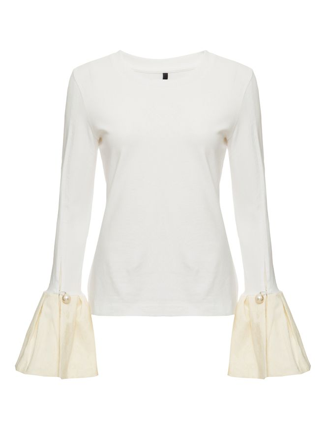 BLUSA-TOP-WITH-JACQUARD-RUFFLE-CUF-IVORY