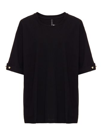 CAMISETA-T-SHIRT-WITH-PEARL-BAR-SLEEVE-BLACK