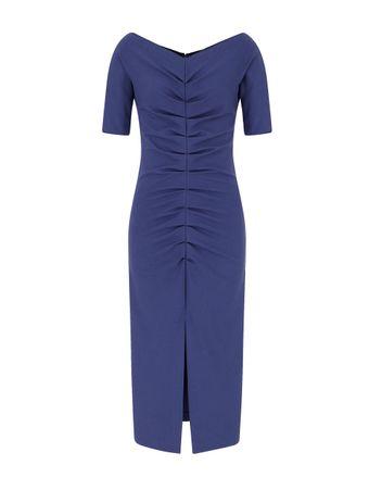 Vestido-Drapeado-Azul