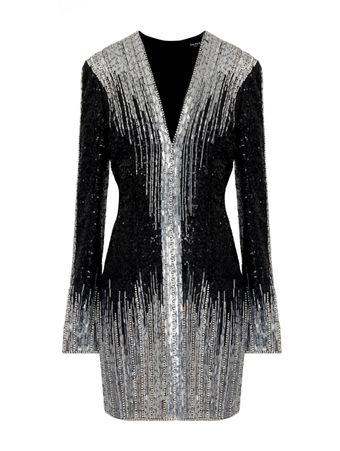 VESTIDO-SHORT-LS-V-NECK-SEQUIN-EMBROIDER-EAC-BLACK-SILVER