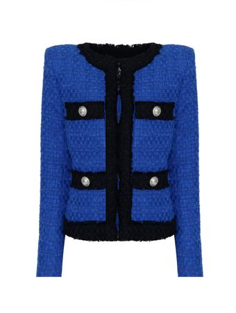 BLAZER-COLLARLESS-4-POCKET-FRAYED-TWEED-BLEU-ELECTRIQUE-BLACK